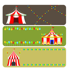Circus show entertainment tent marquee brochure vector