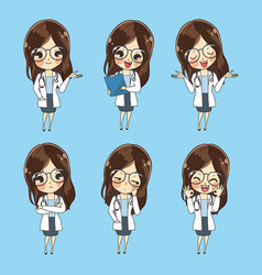 Collection cartoon doctor woman character vector