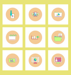 Collection of icons in flat style statistics items vector