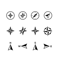 compass icons flat design vector image