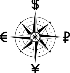 compass of currencies vector image