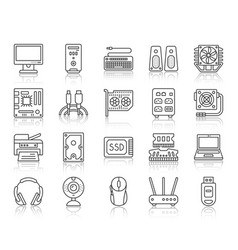 computer simple black line icons set vector image
