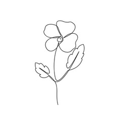 Continuous line flower one line drawing viola vector