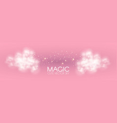 cule clouds with gold magic glitter on pink vector image