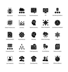 Data science glyph icons set vector