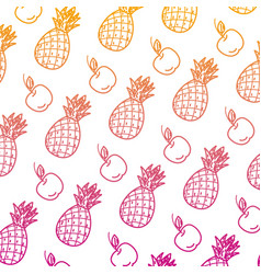 Degraded line delicious pineapple and apple fruits vector