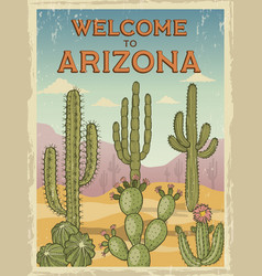 design template retro poster welcome to arizona vector image