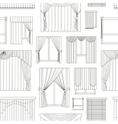Different curtains and blinds for interior design vector image