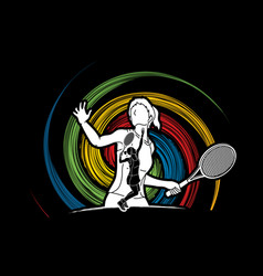 Double exposure tennis player sport woman action vector