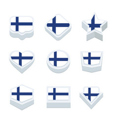 Finland flags icons and button set nine styles vector