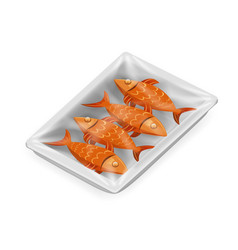 fish food pack isolated isometric disposable 3d vector image