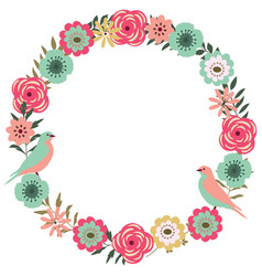 floral frame with birds vector image