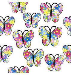 floral pattern butterfly seamless pattern vector image