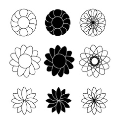 Flower black and white vector image
