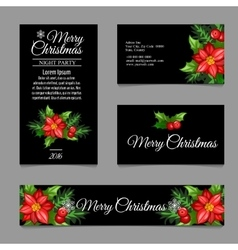 Four business card with red flowers vector