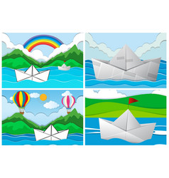 Four scenes with paper boats at sea vector