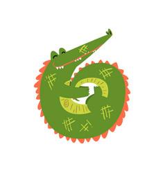 friendly crocodile curled up funny predator vector image