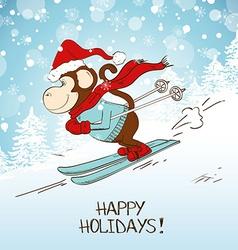 Funny Cartoon Skiing Monkey vector