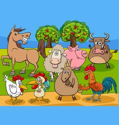 Funny farm animals cartoon characters group vector