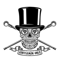 Gentlemen only mexican sugar skull in vintage hat vector