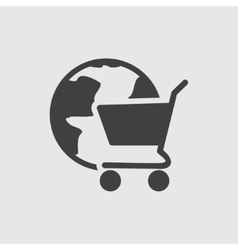 Globe cart icon vector