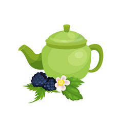green ceramic teapot blackberry with leaves and vector image
