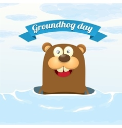 Groundhog day greeting card vector