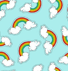 Hand drawn rainbow patch icon seamless pattern vector