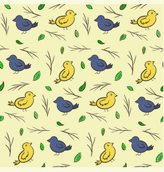 hand drawn seamless pattern with colorful birds vector image vector image