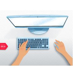 Hands with desktop computer vector