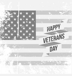 Happy veterans day text on us national flag vector