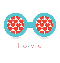 Hearts Reflection Eyeglasses vector image