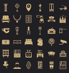 home environment icons set simple style vector image