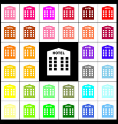 Hotel sign felt-pen 33 colorful icons at vector