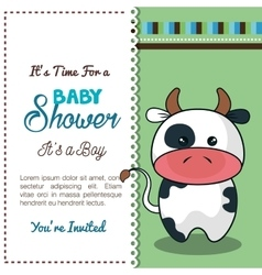 Invitation baby shower card with bull desing vector