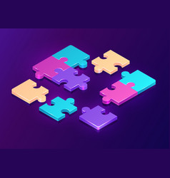isometric puzzle pieces on purple background vector image