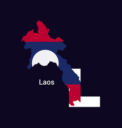 laos initial letter country with map and flag vector image