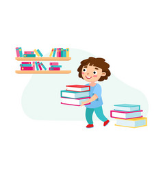 little bacarry pile books kid character vector image
