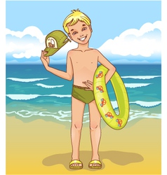 Little boy with a swimming circle vector image