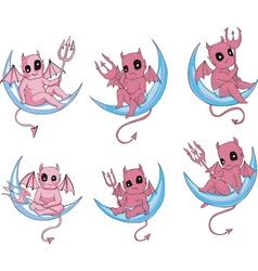 Little devils on moon vector