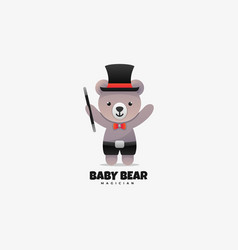 logo baby bear gradient colorful style vector image