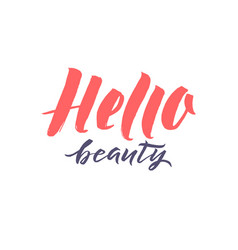 logo hello beauty lettering custom vector image