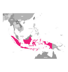 Map of indonesia pink highlighted in vector