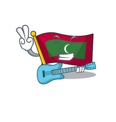 Mascot flag maldives with in with guitar character vector
