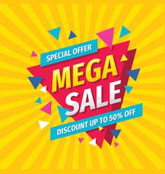 mega sale concept banner template design discount vector image