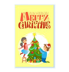 merry xmas winter holidays greeting card vector image