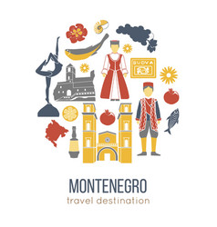 montenegro cultural symbols set in round shape vector image