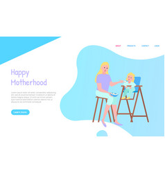 Mother feeding with spoon daughter website vector