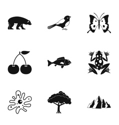 Nature icons set simple style vector