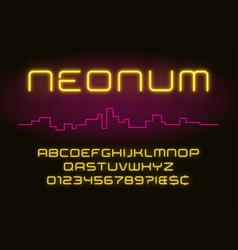 neon light alphabet realistic extra glowing vector image